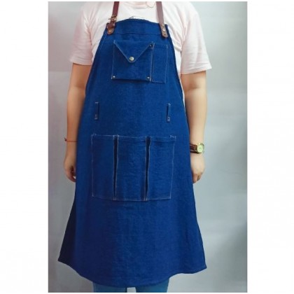 Barista Apron - Blue Jeans with Leather Strip