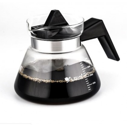 Glass Contrainer for Dripper Black Handle 400ML