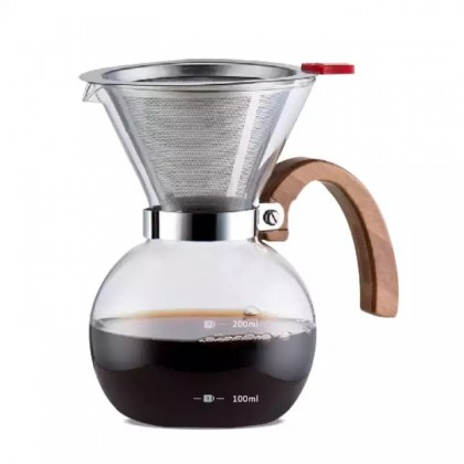 Glass Drip Pot With Wooden Handle
